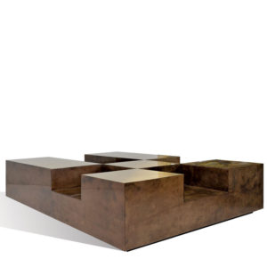 Plateau Coffee Table - Goatskin/Brass