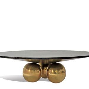 Sphere Coffee Table - Goatskin/Brass