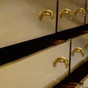 9 Drawer Sideboard – Goatskin/Brass