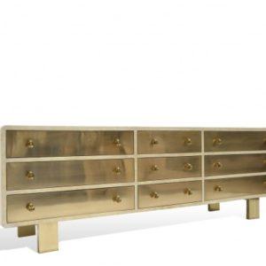9 Drawer Sideboard - Goatskin/Brass