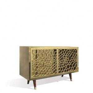 Spider Cabinet 2 Door - Gold Leaf/Brass