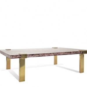 Clasp Coffee Table - Ice-Resin/Brass