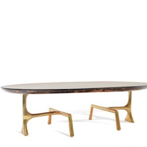 Uovo Coffee Table - Brass/Ice Resin