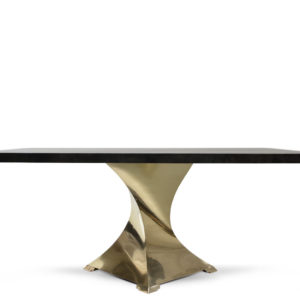 Twister Dining Table - Goatskin/Brass
